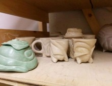 Unfired Pots on the Shelf